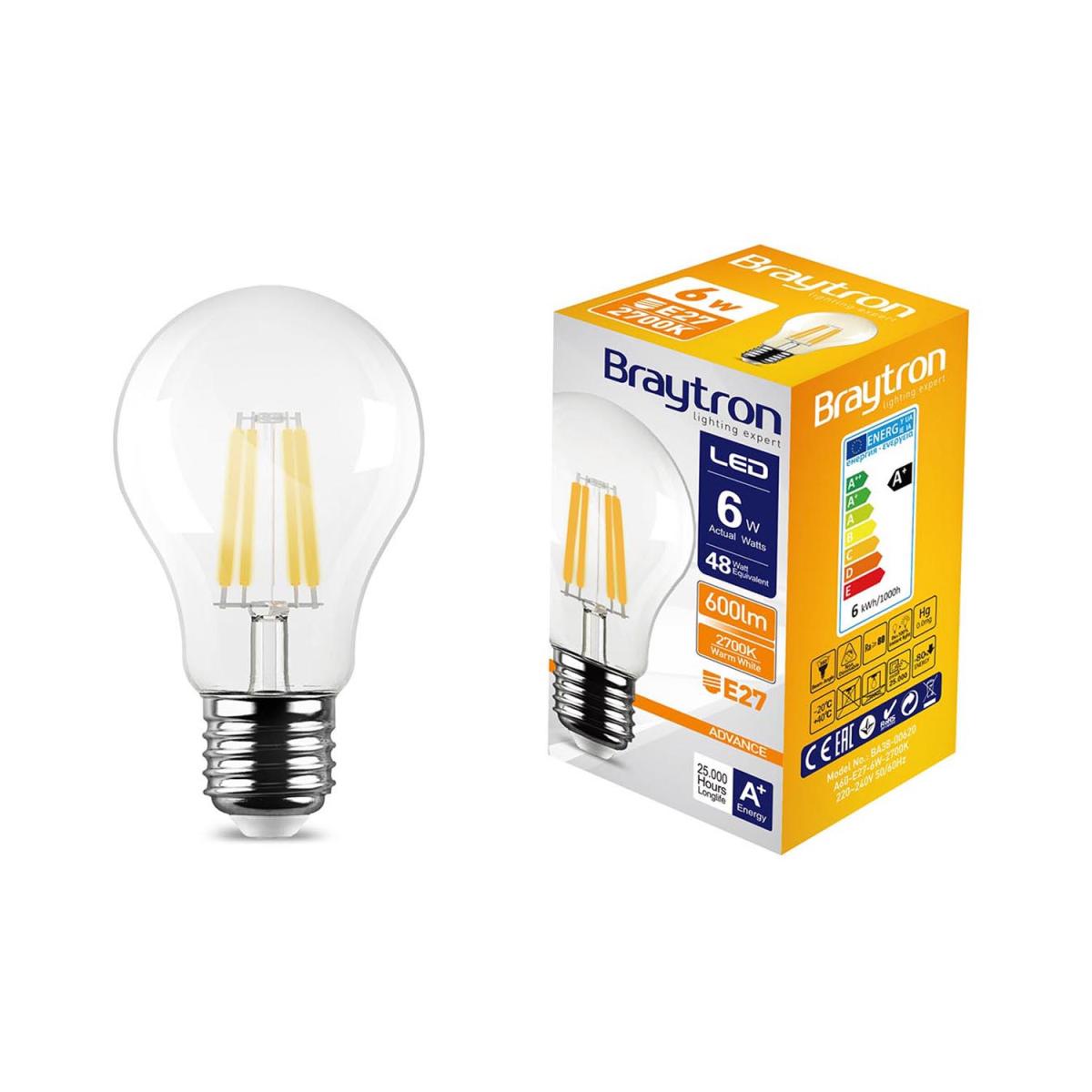 led leuchtmittel filament e27 standard a60 6w 600 lumen warmwei 3000 k 2 79. Black Bedroom Furniture Sets. Home Design Ideas