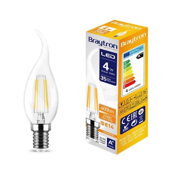 LED Leuchtmittel E14 Filament Flamme C35T 4W | 400 Lumen | warmweiß (2700 K)