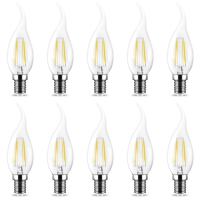10er Sparpack | LED Leuchtmittel E14 Flamme C35T 4W...
