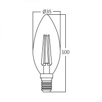 10er Sparpack   LED Leuchtmittel E14 Kerze C35 4W Filament   400 Lumen warmweiß (3000 K)