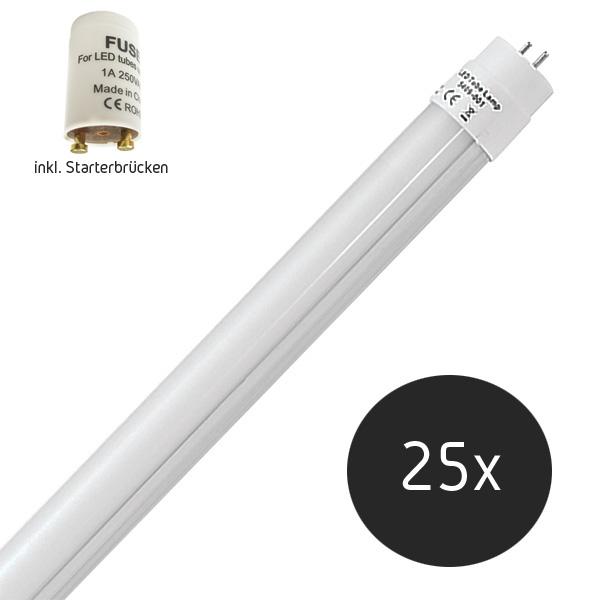 25er Sparpack | LED Tube G13 inkl. Starterbrücke (Ersatz für Leuchtstoffröhre T8) 18 Watt, 1800 Lumen, 120cm kaltweiß (6500 K)