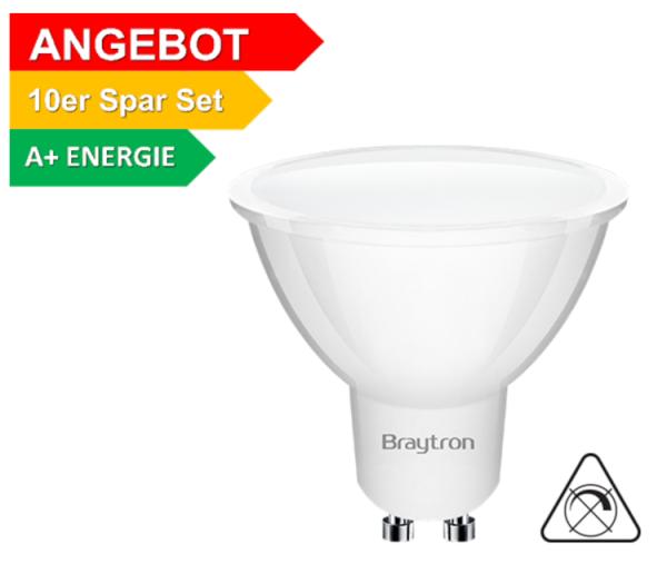 10er Sparpack | LED Leuchtmittel GU10 SMD 5W | 120° | 360 Lumen warmweiß (3000 K)