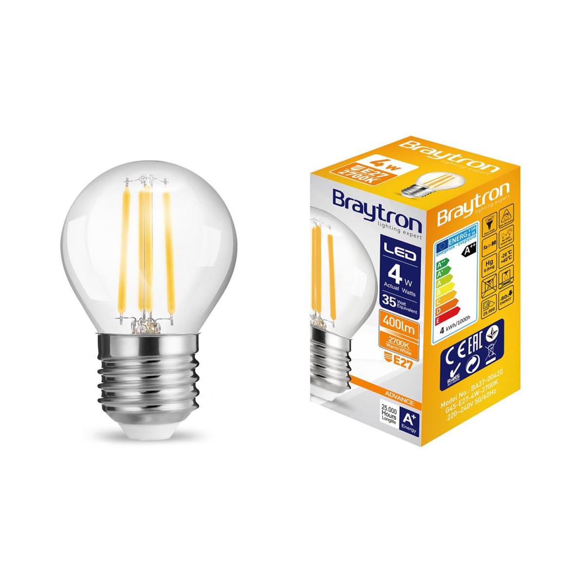 4er E27 5W G45 LED Lampen Licht Glühbirne Leuchtmittel 400Lumen 3000K warmweiss