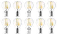 10er Sparpack | LED Leuchtmittel E14 Filament Kugel P45 4...