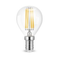 10er Sparpack | LED Leuchtmittel E14 Filament Kugel P45 4 Watt | 400 Lumen | warmweiß (2700 K)