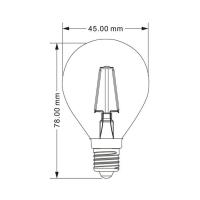 10er Sparpack | LED Leuchtmittel E14 Filament Kugel P45 4 Watt | 400 Lumen warmweiß (3000 K)
