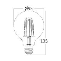 LED Leuchtmittel Filament E27 Kugel Globe DIMMBAR (G95, 95mm Durchmesser) 6 Watt | 515 Lumen warmweiß (2200 K)