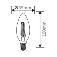 LED Leuchtmittel E14 Filament Kerze klar C35 4W | dimmbar | 470 Lumen | warmweiß (2700K)