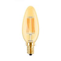 LED Leuchtmittel E14 Filament Kerze | Bernstein | C35 4W...
