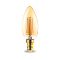 LED Leuchtmittel E14 Filament Kerze | Bernstein | C35 4W | 360 Lumen | warmweiß (2200 K)