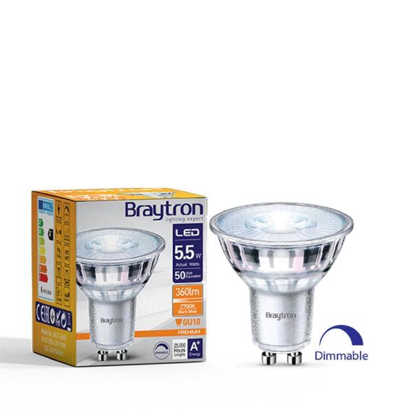 10er Sparpack LED Leuchtmittel GU10 Glas 5,5 W | dimmbar | 360 Lumen warmweiß (2700 K)